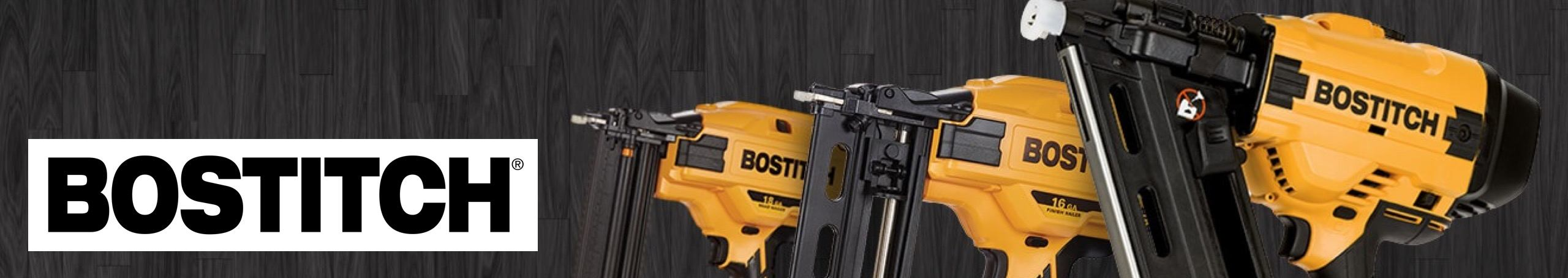Bostitch logo with some power tools