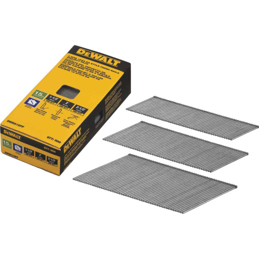 DeWalt 15-Gauge Bright DA-Style Angled Finish Nail Project Pack, 1-1/2 In., 2 In., 2-1/2 In. (900 Ct.)