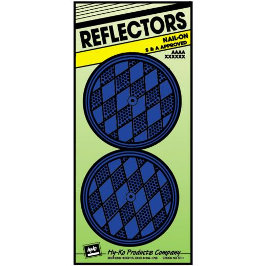 Hy-Ko 3-1/4 In. Dia. Round Blue Nail-On Reflector (2-Pack)