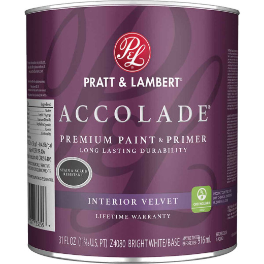 Pratt & Lambert Accolade Premium 100% Acrylic Paint & Primer Velvet Interior Wall Paint, Bright White Base, 1 Qt.
