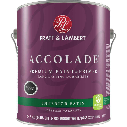Pratt & Lambert Accolade Premium 100% Acrylic Paint & Primer Satin Interior Wall Paint, Bright White Base, 1 Gal.