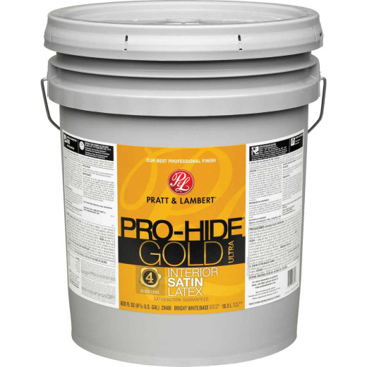 Pratt & Lambert Pro-Hide Gold Ultra Latex Satin Interior Wall Paint, Bright White Base, 5 Gal.