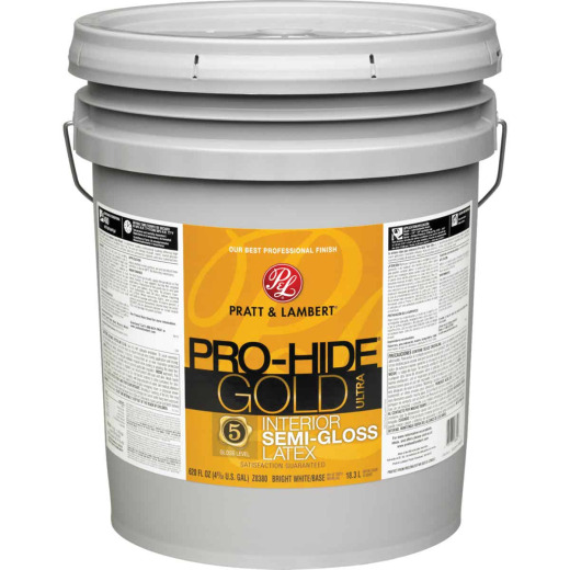 Pratt & Lambert Pro-Hide Gold Ultra Latex Semi-Gloss Interior Wall Paint, Bright White Base, 5 Gal.