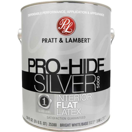 Pratt & Lambert Pro-Hide Silver 5000 Latex Flat Interior Wall Paint, Bright White Base, 1 Gal.