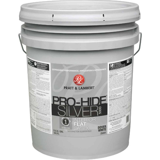 Pratt & Lambert Pro-Hide Silver 5000 Latex Flat Interior Wall Paint, Dover White, 5 Gal.