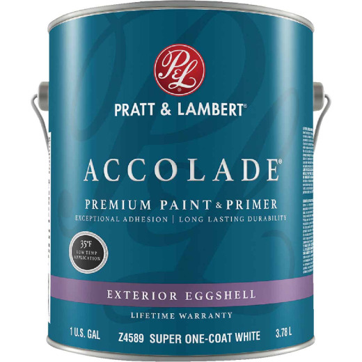 Pratt & Lambert Accolade 100% Acrylic Paint & Primer Eggshell Exterior House Paint, Super One Coat White, 1 Gal.