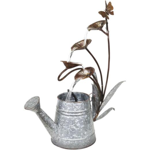 Alpine 18 In. W. x 24 In. H. x 8 In. L. Rustic Metal Leaf Pod & Watering Can Fountain