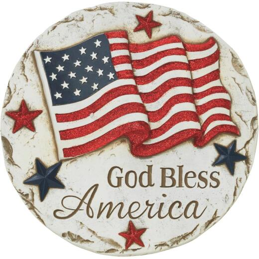 Gerson Spring GIL 11.6 In. Cement God Bless America Stepping Stone