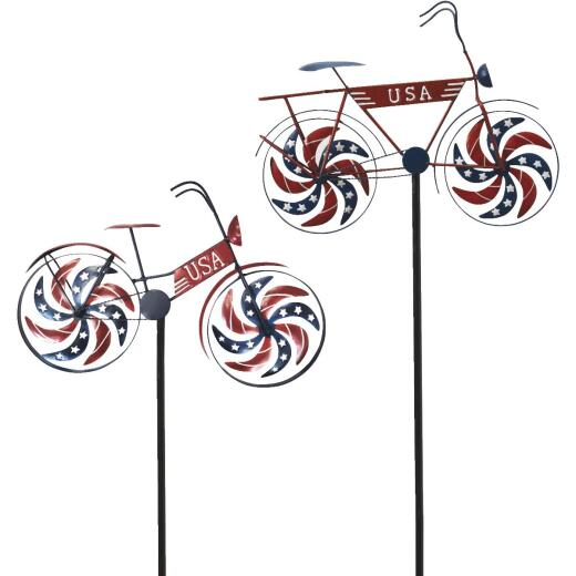Gerson Spring GIL 47.6 In. Metal Patriotic Bicycle Wind Spinner Yard Stake